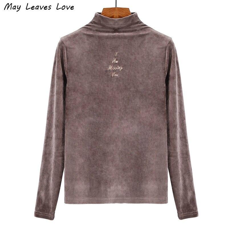 May feuilles amour lettres broderie velours à manches longues chemise femmes printemps automne Slim demi haute couleur hauts 10 couleurs grande taille