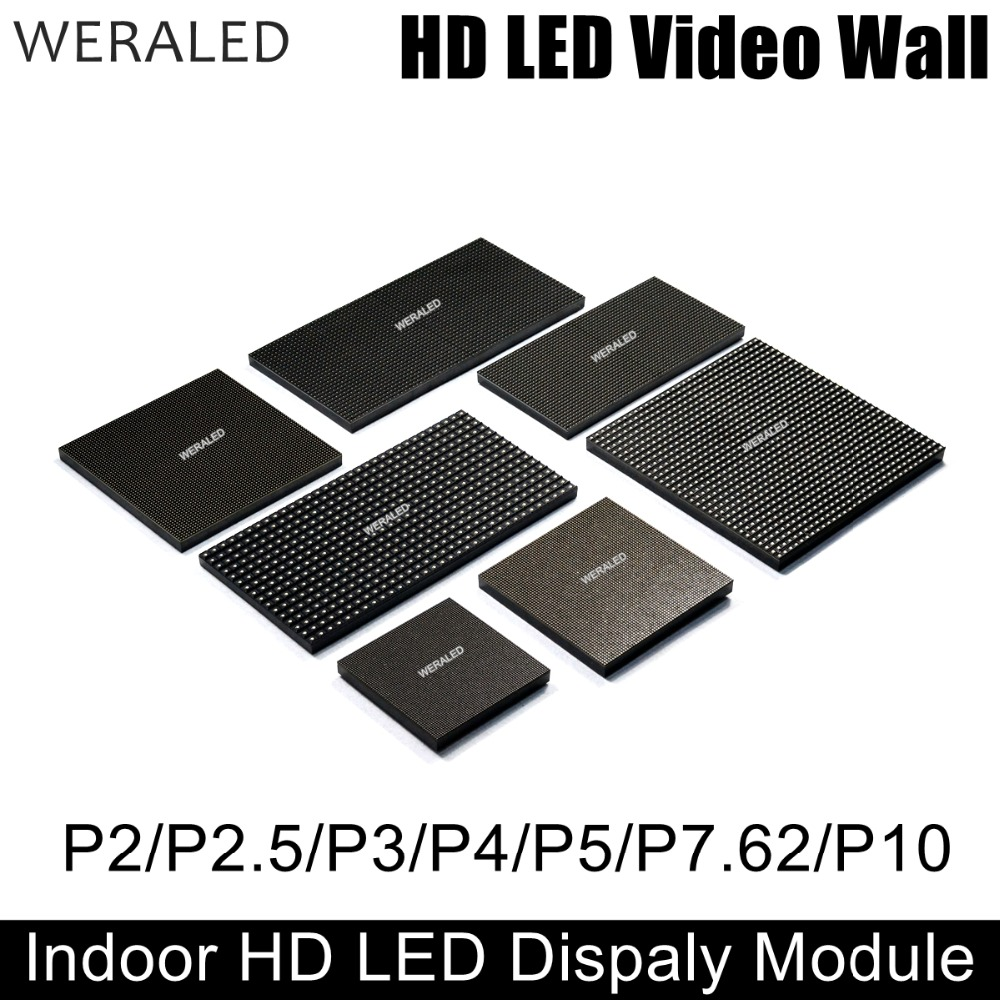 WERALED P2 P2.5 P3 P4 P5 P6 P10 Indoor Full Color LED Module,SMD 3-in-1 LED Video Wall Display Panel 1/8 to 1/32 Scan diy kit p10 led display advertising outdoor full color module 4 pcs d10 control card 1 pcs jn power supply 1 pcs