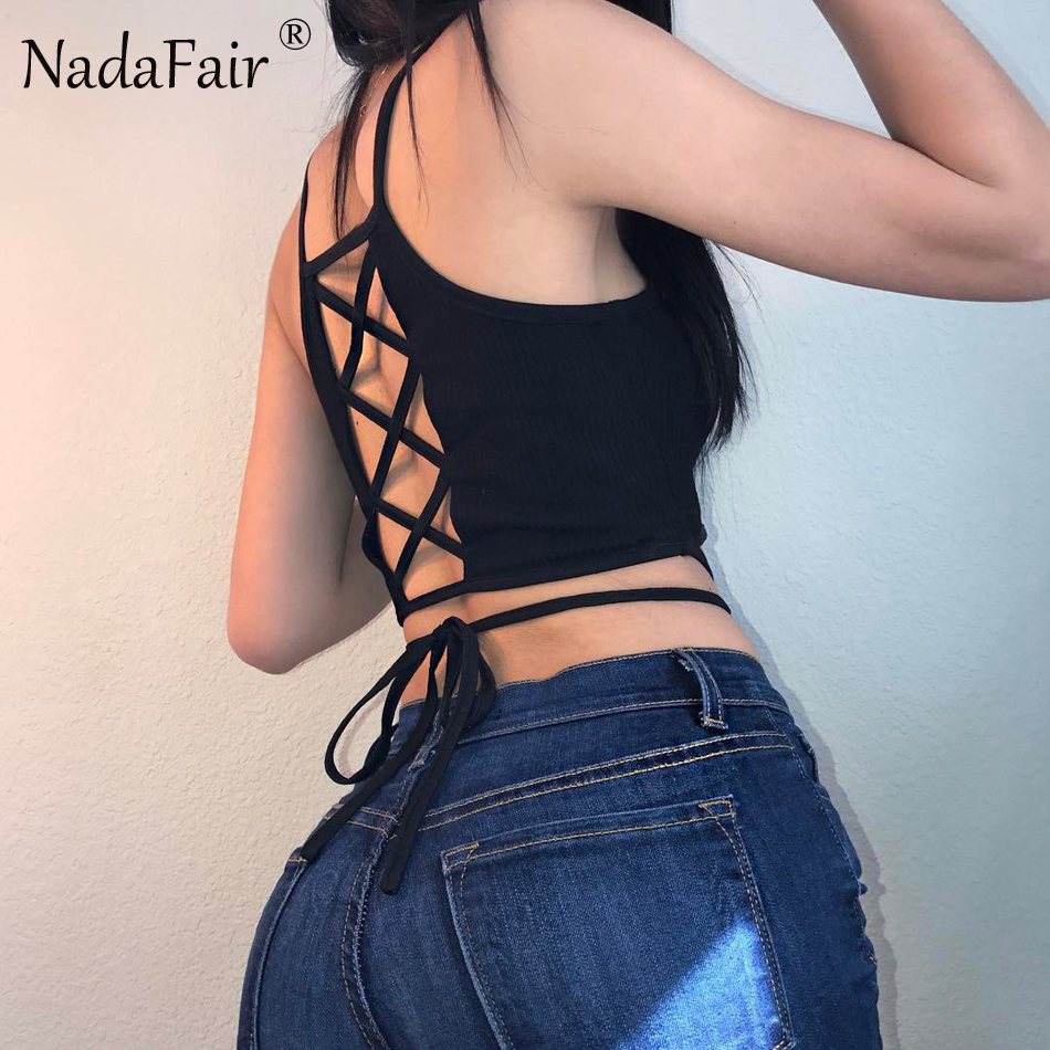 Nadafair Sleeveless Backless Criss Cross Lace Up Skinny -9031