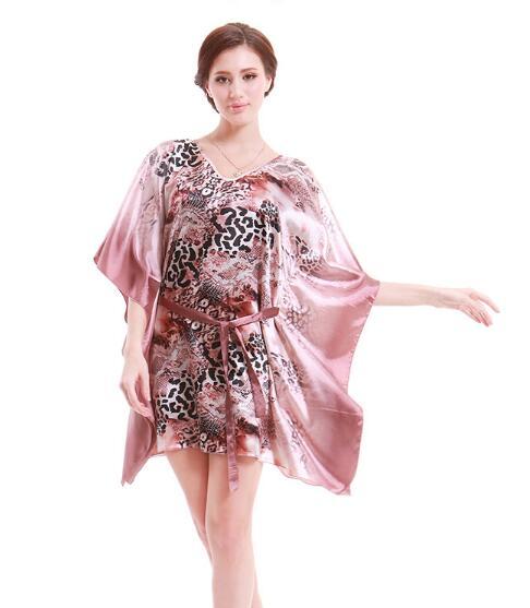 Leopard print Women Nightgowns Sleepshirts 2019 Women Summer Style Nightdress Bath Robe Faux Silk Bathrobe Sleepwear Lounge