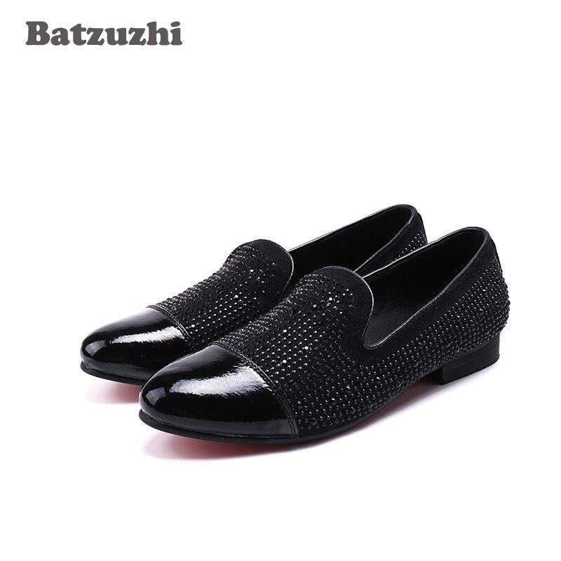 Batzuzhi 2018 Summer Men Shoes Men Casual Shoes Walking Shoes Crystal Black Genuine Leather Dress Shoes Wedding and Party, US12