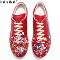 Maison Martin Margiela Sapatos Casuais Pintar Graffiti Sapatas Dos Homens de Design de Moda Couro Genuíno Sapatos Casuais Zapatos XMA0683-2