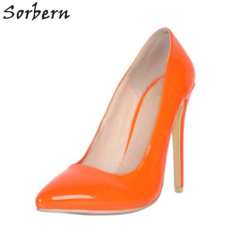 Sorbern Orange Size 11 Shoes British Style Women Shoes Luxury Women Shoes High Heel Sexy Pumps Big Size Custom Color Dress Shoes big size 40 41 42 women pumps 11 cm thin heels fashion beautiful pointy toe spell color sexy shoes discount sale free shipping