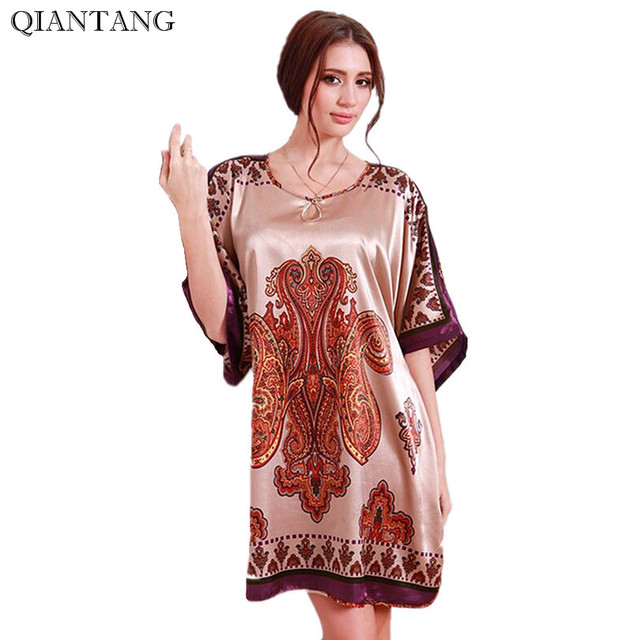 Plus Size Faux Silk Bath Robe Women Rayon Night Gown Round Collar