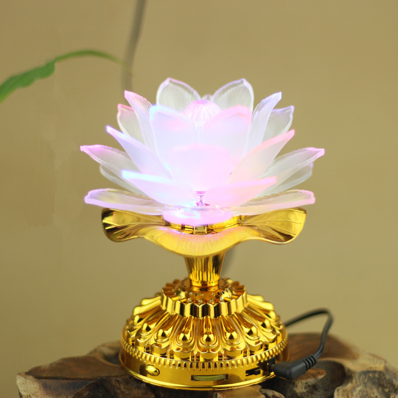 Heliga 7 Färgrika LED Lotus Lampa Buddhistiska Tillbehör Alloy Base Ändra vit lampa med 13 Buddhism Song Buddha Temple Decoration