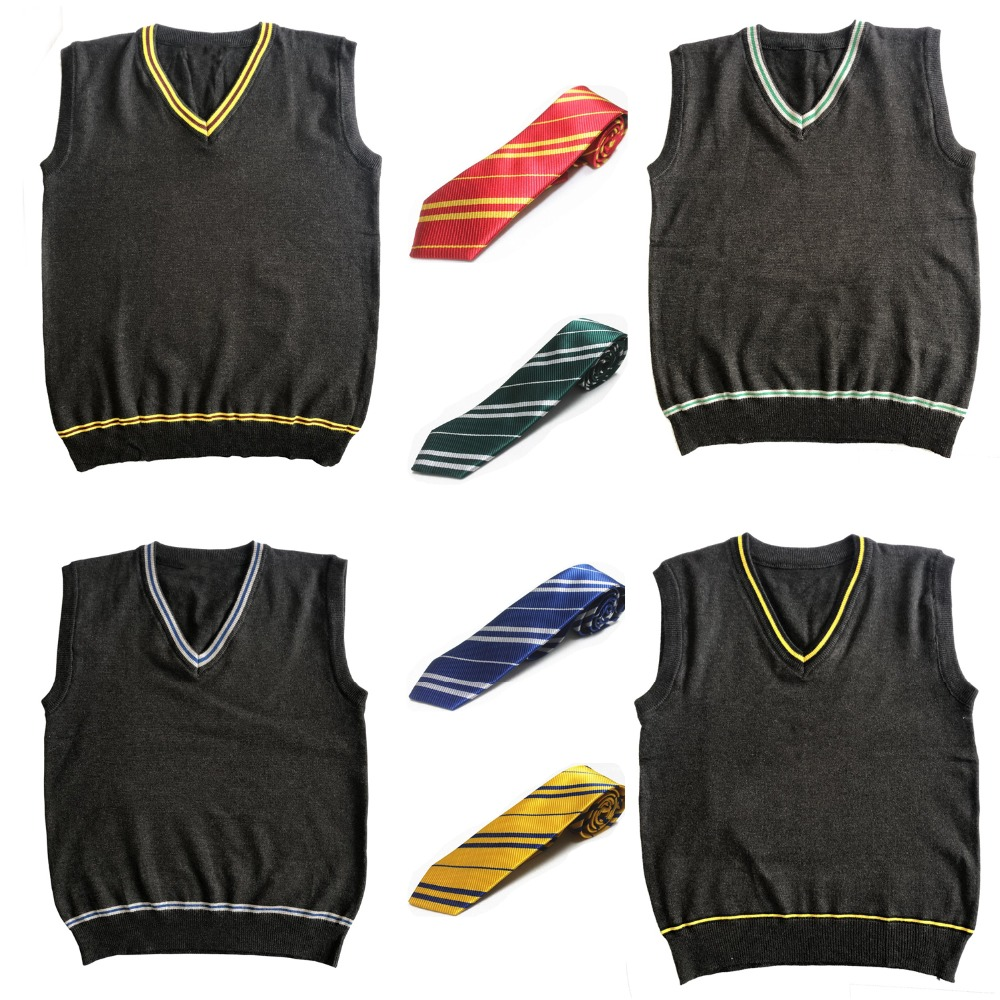 Harri Potter Costume Gryffindor Slytherin Hufflepuff Ravenclaw Sweater V Neck Sweater with Tie Waistcoat Black Potter Cosplay
