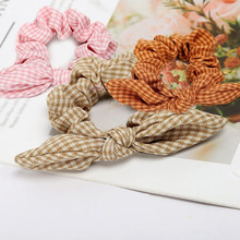 Fashion stretch hair bow rope Bunny Ears Scrunchie Velvet Hair Tie  Elastic Ponytail Holder Bands wedding Accessories