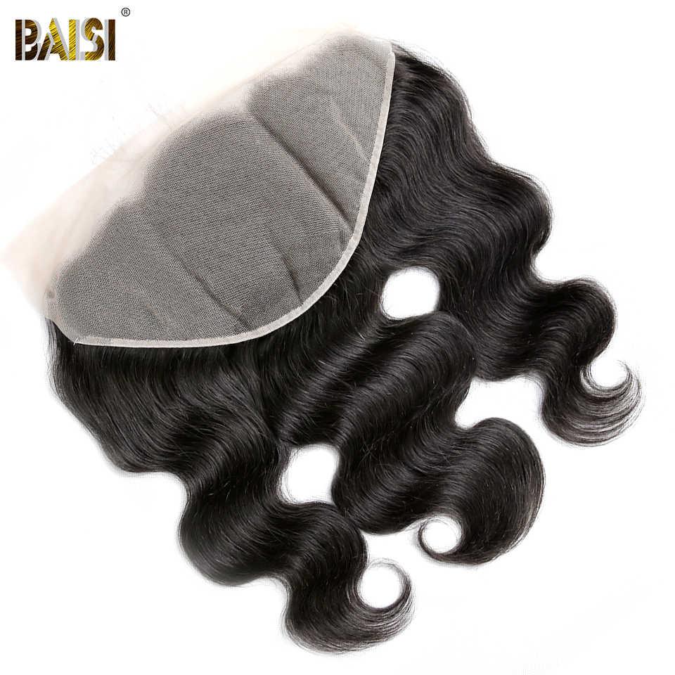 BAISI прозрачное кружевное тело волна перуанские девственные волосы кружева фронтальный Размер 13*6, предварительно сорванные натуральные волосы линия с детскими волосами
