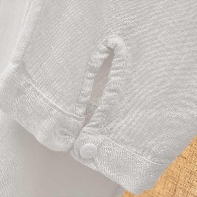 قمصان خريف للسيدات من Johnature بلوزات من القطن والكتان قطع علوية فضفاضة كلاسيكية موضة خريف 2019 قمصان بأكمام طويلة ورقبة دائرية على الطراز الصيني