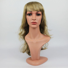 High quality Realistic PE Female Mannequin Dummy Head With Hair,Manikin Heads Display D5-W,T22