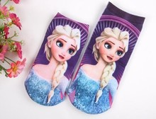 2pairs lot cotton baby novelty toddler children cartoon socks girls kids Princess Elsa 3D printed calcetines