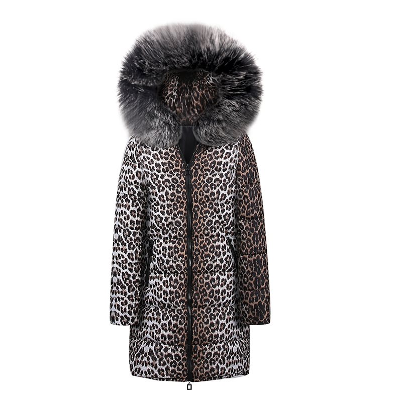 Casual Cotton Winter Fur Jackets Plus Size Women Coat Slim Print Leopard Jackets Female   Parkas   High Street Fashion Long Overcoat
