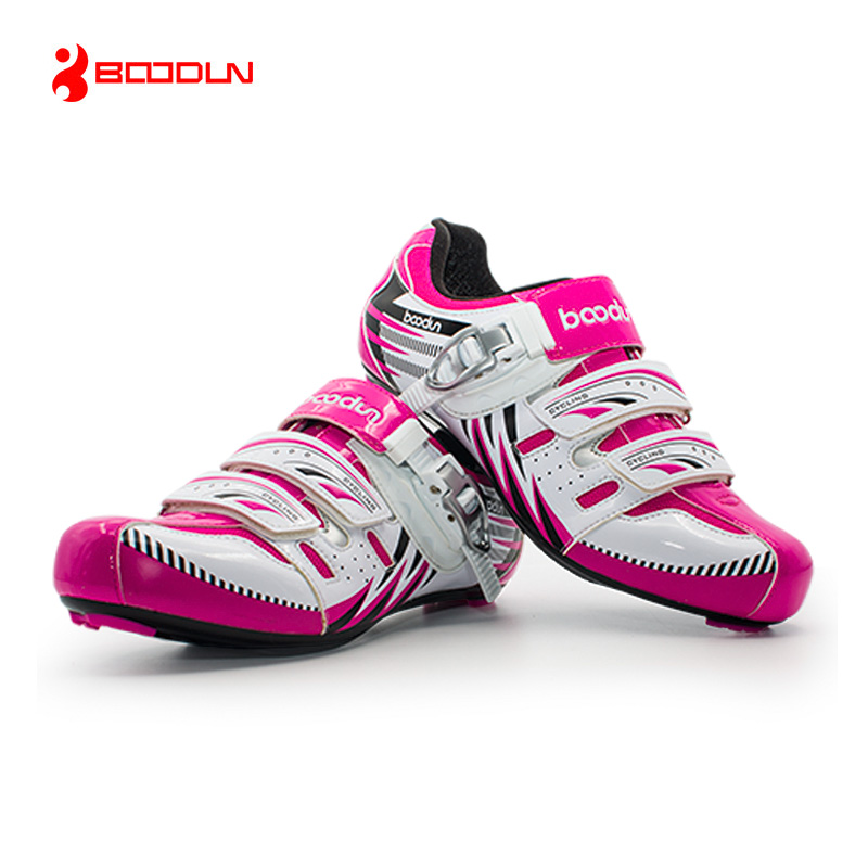ФОТО BOODUN Women Road Cycling Shoes Breathable Ultralight Bicycle Shoes Wear-resistance Bike Shoes Auto lock Cycling Shoes Sapatos