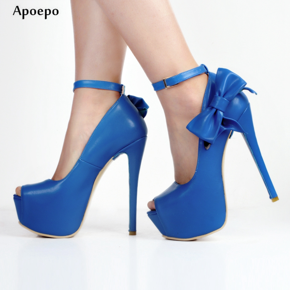 Apoepo Hot Selling High Heel Shoes 2018 Sexy Peep Toe Butterfly-knot Platform Pumps Ankle Strap Dress Shoes for Woman apoepo hot selling green suede high heel