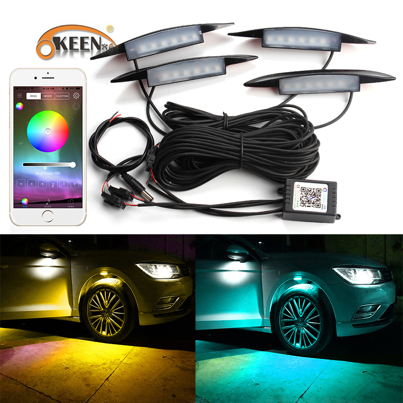 OKEEN APP Control Car RGB LED Wheel Eyebrow Neon Lights Fender Under Side Lamp 3 Modes Flash Strobe Breath Decorative Atmosphere