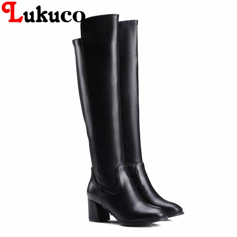 NEW European PLUS size 43 44 45 46 47 48 Lukuco elegant women knee-high boots square heel zip design lady shoes free shipping