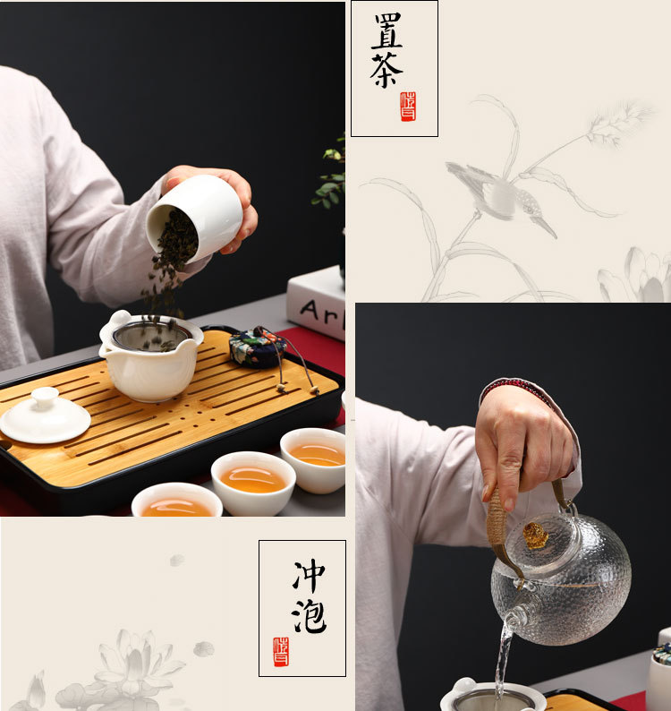 Céramique blanche couvercle bowel théière en plein air haute qualité santé Teaware blanc céramique porcelaine voyage thé Set thé plateau bambou