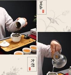 Wit keramiek Cover darm thee pot Outdoor hoogwaardige gezondheid Theewaar Wit keramiek Porselein Reizen Thee Set thee dienblad bamboe