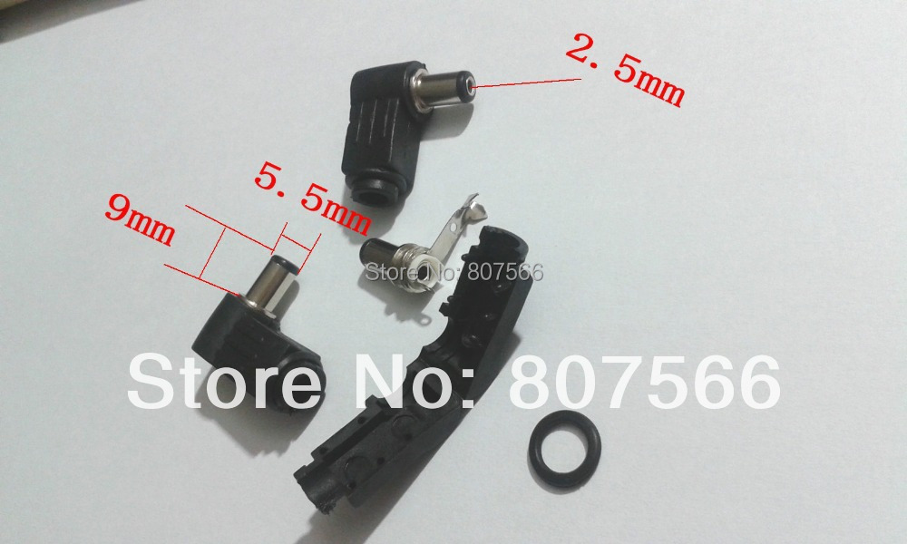 100PCS 5.5 X 2.5mm x 9mm DC socket jack Right angle Charger Power Plug Solder