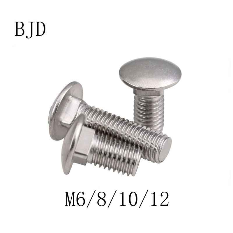 GB12 DIN603 M6 <font><b>M8</b></font> M10 M12 stainless steel round head square neck carriage <font><b>screws</b></font> bridge <font><b>screws</b></font> shelf <font><b>screws</b></font> anti-theft bolts image