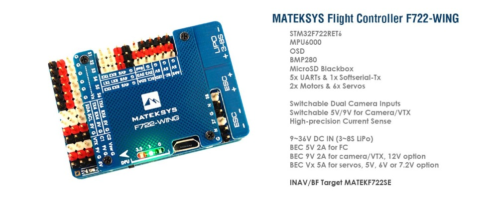 Matek Systems Mateksys F722-WING Flight Controller F722 wing FC with PDB Support 3~6S Fly Wing Fixed WingMatek Systems Mateksys F722-WING Flight Controller F722 wing FC with PDB Support 3~6S Fly Wing Fixed Wing