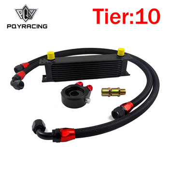 PQY - UNIVERSAL 10 ROWS OIL COOLER KIT +OIL FILTER SANDWICH ADAPTER BLACK + SS NYLON STAINLESS STEEL BRAIDED AN10 HOSE