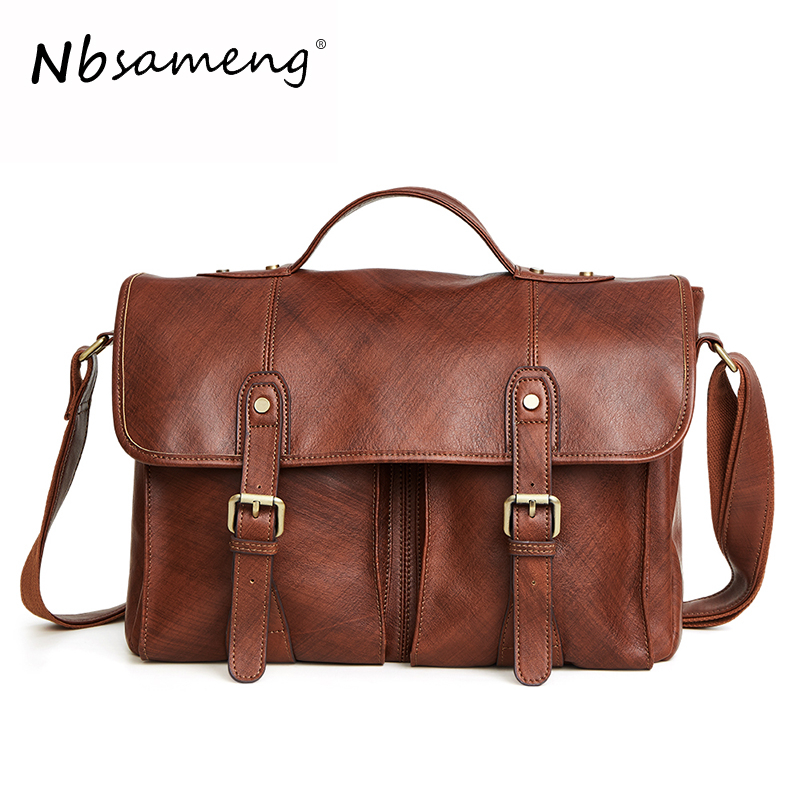 NBSAMENG 100% Genuine Cowhide Leather Men Messenger Bags Male Shoulder Bags Casual Crazy Horse Handbags Business Briefcase Tote crazy horse oil wax genuine leather shoulder bag for men casual messenger bags male hip bum loops belt 9 inch fanny waist pack