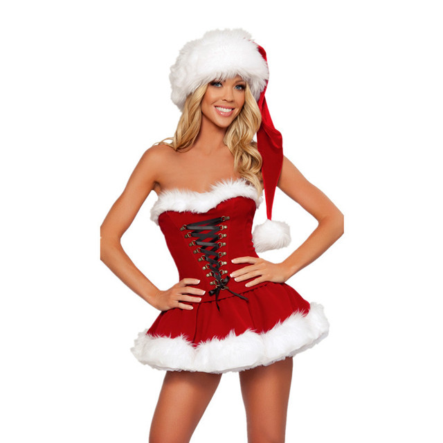 c29db579192 High Quality Adults Women Strapless Sexy Christmas Costumes Adult women Santa  Claus Cosplay Christmas Party Fancy