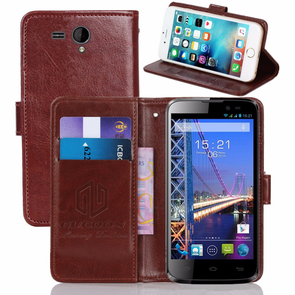 GUCOON Vintage Wallet Case for Fly IQ4502 ERA Energy 1 PU Leather Retro Flip Cover Magnetic Fashion Cases Kickstand Strap