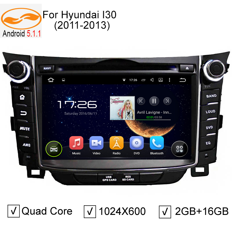 "1024*600 HD 2Din 7"" Android 5.1.1 Qud Core Car DVD Player for HYUNDAI I30 2011 2012 2013 with GPS 3G / 4G WIFI BT IPOD Radio USB"