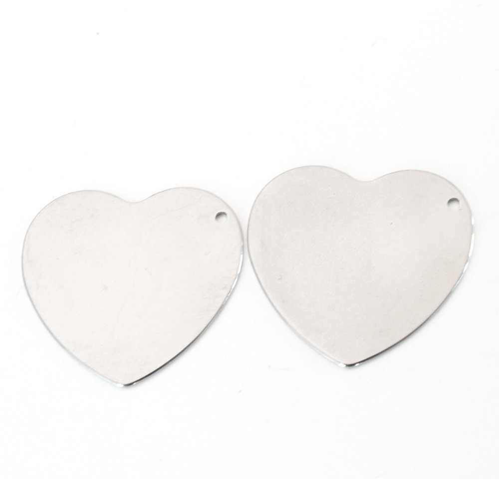 10Pcs Stainless Steel Love Heart Charms Pendant Blank Metal Tag for Stamping
