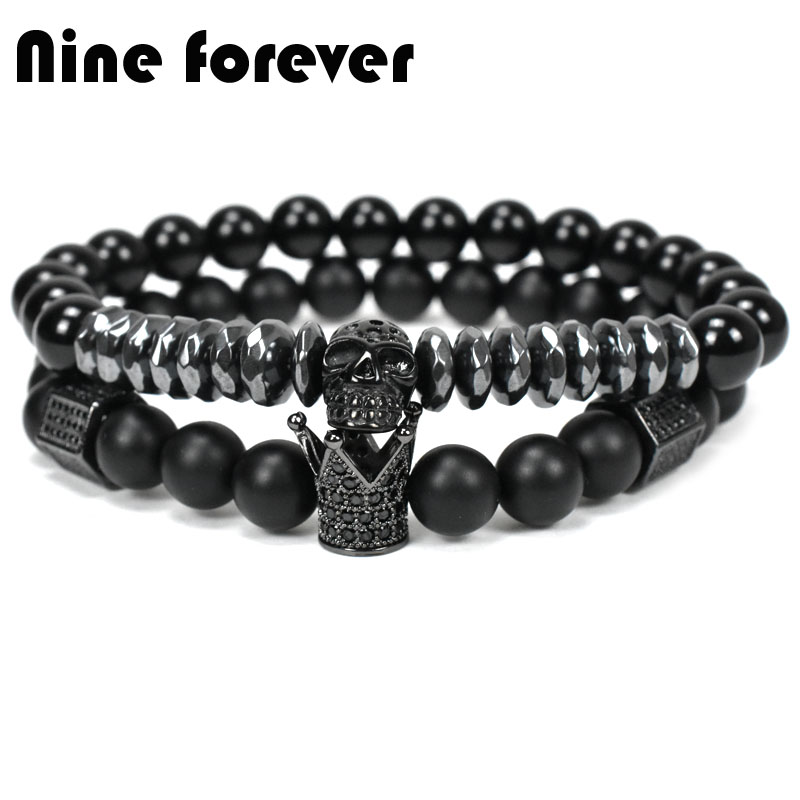 Nine forever natural stone beads crown bracelet men jewelry Skull Skeleton Titanium Steel bracelets pulseira masculina