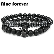 Natural stone beads crown bracelet for men