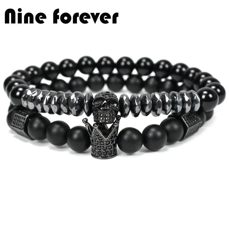 Nine forever natural stone beads crown bracelet men jewelry Skull Skeleton Titanium Steel bracelets pulseira masculina bileklik