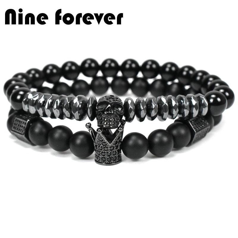 Nove para sempre coroa contas de pedra natural pulseira de homens jóias Esqueleto Crânio pulseiras de Aço Titânio pulseira masculina bileklik