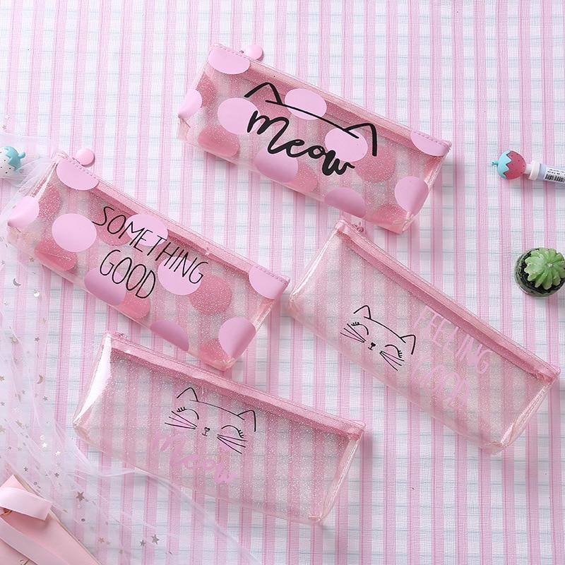 1 Pcs Kawaii Pencil Case Dot Cat Plastic Gift Estuches School Pencil Box Pencilcase Pencil Bag School Supplies Stationery