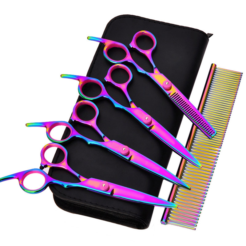 6 Inch Pet Hair Cut Colorful Scissors Clippers Flat Tooth Cut Pets Beauty Tools Set Kit Dogs Grooming Hair Cutting Scissor Set in Dog Scissors from Home Garden
