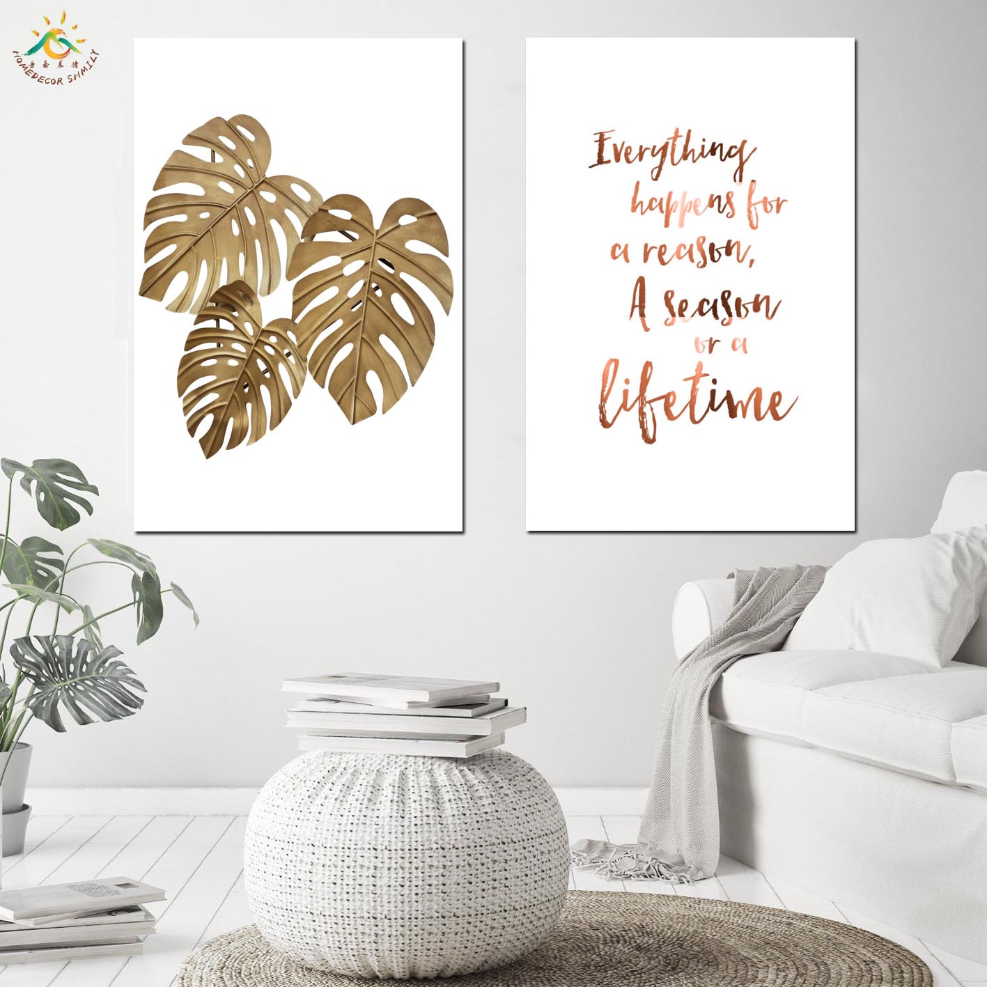 Nordic Golden Leaf Modern Canvas Painting Wall Pictures Prints And Poster Scroll Decoration Home