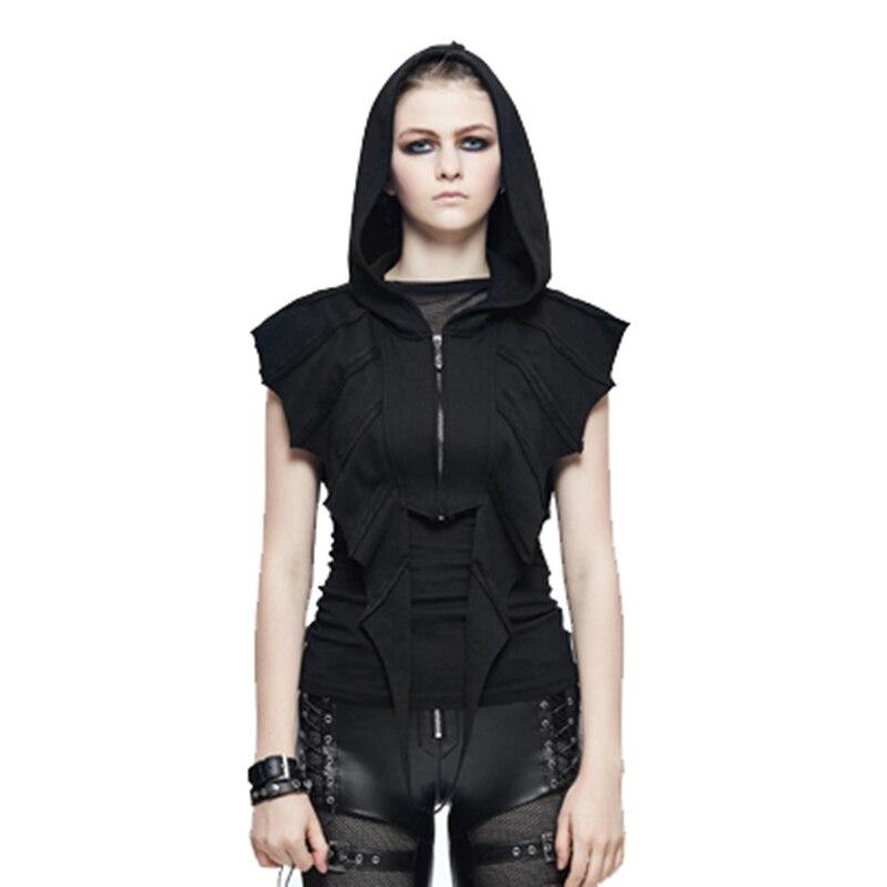 T-shirt femme Style Punk manches chauve-souris T-shirt haut court noir T-shirts à capuche Cool foncé nouveaux arrivants T-shirt en coton