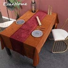 ESSIE HOME Wine Red Burgundy Single Side Matte Velvet High End Table Runner Wedding Decoration Placemat