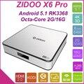 Versiones de Ultramar Zidoo X6 Pro WIFI Android TV Box HD 4 K * 2 K H.265 XBMC RK3368 Bluetooth desbloquear (KODI) 2G/16G 3D Octa Core 1000 M
