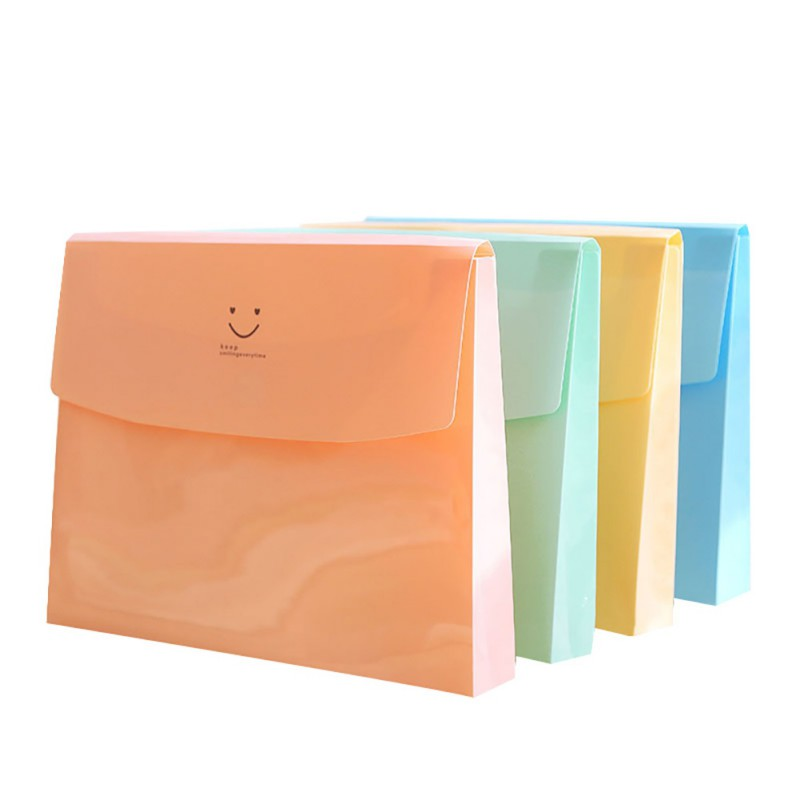 New Korean Stationery Simple Multi-layer Information Papers Buckle Buckle A4 Folder Candy Color File Storage Folder