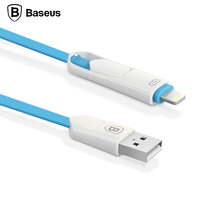 Baseus Colorful 2 in 1 Micro USB Cable Data Sync Charging Charger For iPhone 6 6s Plus 5 5s SE Samsung Xiaomi Meizu HTC Cable
