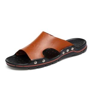 Image 4 - Zapatillas de cuero para hombre, chanclas masculinas deslizantes de talla grande, en 5 colores, gran oferta