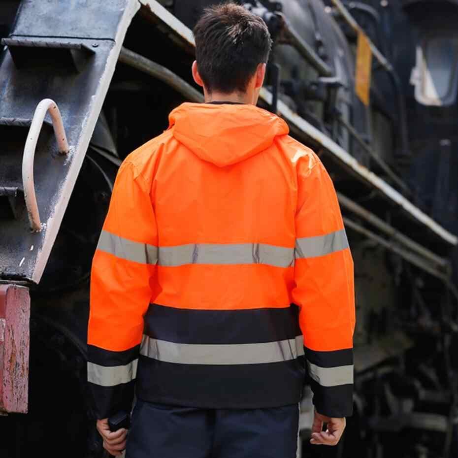 Mens Waterdichte Reflecterende Veiligheid Regen Jas Broek Oxford Stof Werkkleding Veiligheid Verkeer Jas Fluorescerend Oranje Zwart