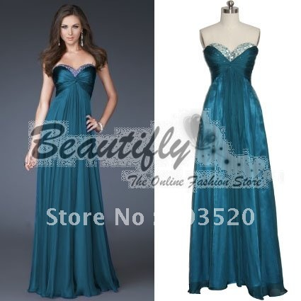 Beautifly Darker Teal Beaded Chiffon Party Prom Dress In Prom