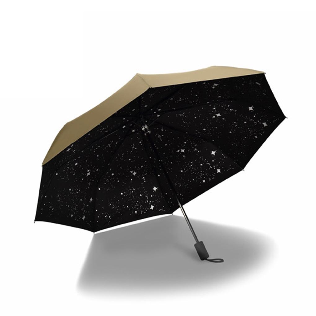 29d5507b5daf Concise Starry Sky Black Coating Windproof Anti UV Sun Rain Triple Folding  Umbrella - us221