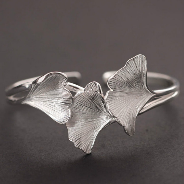 Handmade Real Pure 925 Sterling Silver Bangles Women Ginkgo Leaf Opening Bracelets