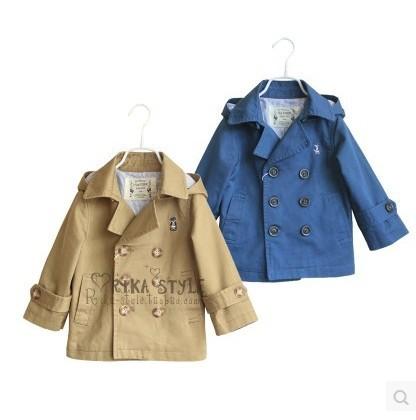 Nueva 3-10year niños marca niños del oso ropa masculina niño abrigo con a prendas de vestir exteriores capucha capa abrigo rompevientos para niños