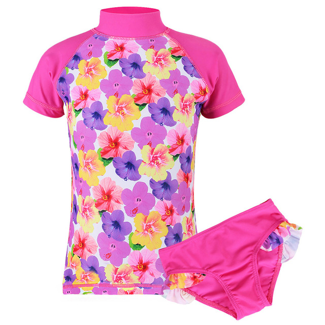 2Pcs New Girls UV SPF 50+ Sun Protection Swimwear Kid Pink Two Pieces Set Long/Short Sleeve Flower and Popsicles Swimsuit 2-8Y